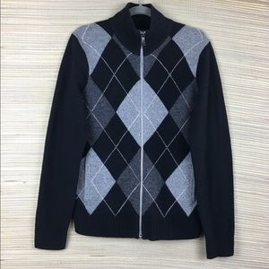 EXPRESS 100% Lambswool Argyles Zip Up Sweater